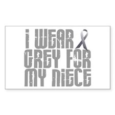 I Wear Grey For My Niece 16 Rectangle Decal
