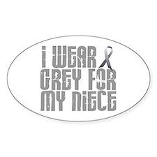 I Wear Grey For My Niece 16 Oval Decal