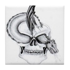 gothic Skull and dragon Tile Coaster