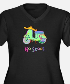 Go Scoot! Women's Plus Size V-Neck Dark T-Shirt
