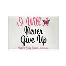 Breast Cancer Never Give Up Rectangle Magnet