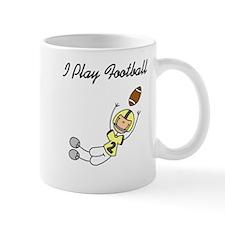 Yellow I Play Football Mug