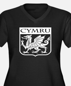 CYMRU Wales Women's Plus Size V-Neck Dark T-Shirt