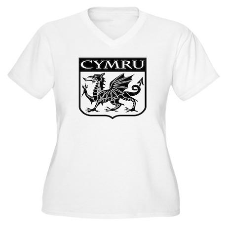 CYMRU Wales Women's Plus Size V-Neck T-Shirt