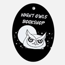 Cute Bookstore Oval Ornament