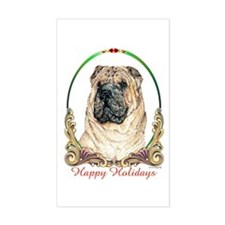 Chinese Shar Pei Holiday Rectangle Decal