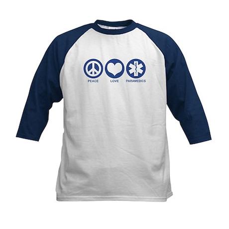 Peace Love Paramedics Kids Baseball Jersey