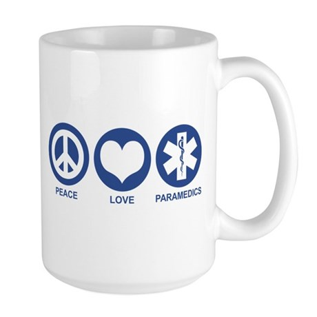 Peace Love Paramedics Large Mug