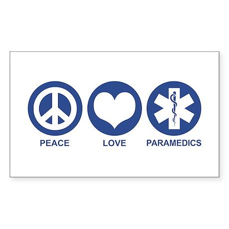 Peace Love Paramedics Rectangle Sticker
