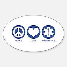 Peace Love Paramedics Oval Decal