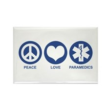 Peace Love Paramedics Rectangle Magnet