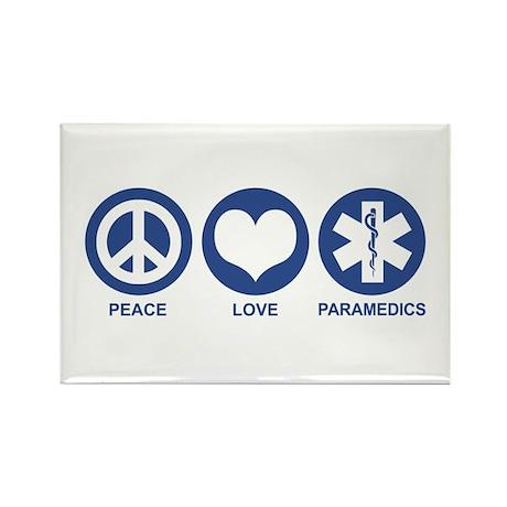 Peace Love Paramedics Rectangle Magnet