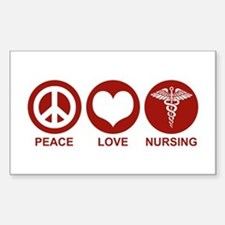 Peace Love Nursing Rectangle Decal