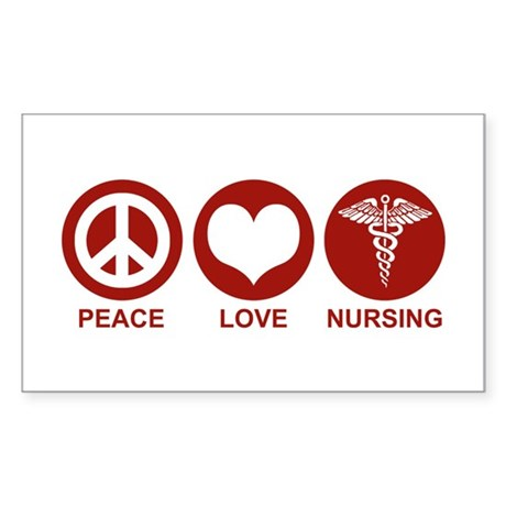 Peace Love Nursing Rectangle Sticker