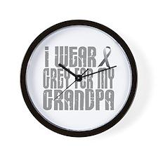 I Wear Grey For My Grandpa 16 Wall Clock