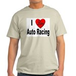 I Love Auto Racing (Front) Ash Grey T-Shirt
