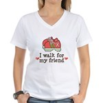 Breast Cancer Walk Friend Women's V-Neck T-Shirt