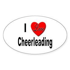 I Love Cheerleading Oval Decal