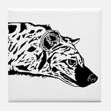 Black and White Hyena Tile Coaster