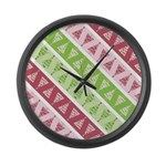 Striped Funky Christmas Large Wall Clock
