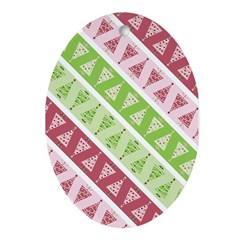 Striped Funky Christmas Oval Ornament