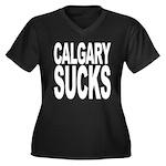 Calgary Sucks Women's Plus Size V-Neck Dark T-Shir