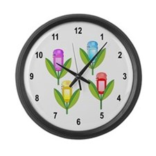 GPS Flowers Large Wall Clock