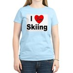 I Love Skiing (Front) Women's Pink T-Shirt