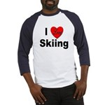 I Love Skiing (Front) Baseball Jersey