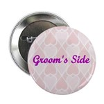 Groom's Side Pink Hearts Button