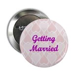 Getting Married Pink Hearts Button