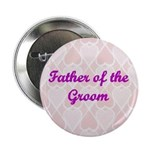 Father of the Groom Pink Hearts Button