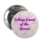 College friend of the Groom Pink Hearts Button