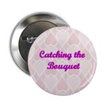 Catching the Bouquet Pink Hearts Button