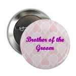 Brother of the Groom Pink Hearts Button