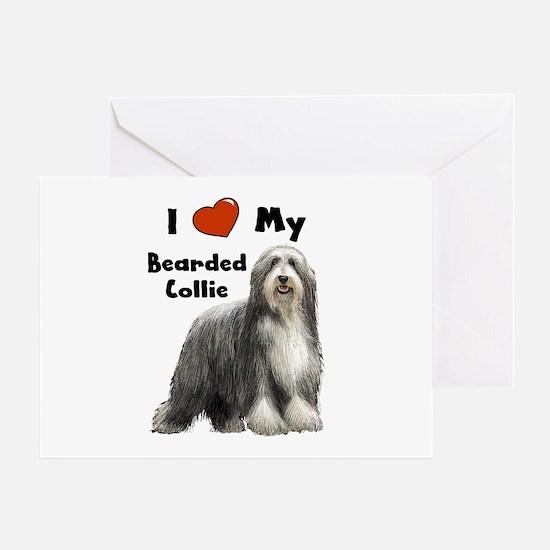 I Love My Bearded Collie Greeting Card