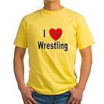 I Love Wrestling Yellow T-Shirt