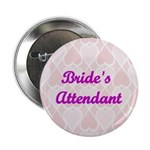 Bride's Attendant Pink Hearts Button