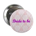 Bride to be Pink Hearts Button