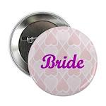 Bride Pink Hearts Button