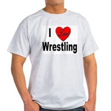 I Love Wrestling (Front) Ash Grey T-Shirt