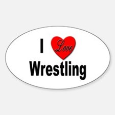 I Love Wrestling Oval Decal