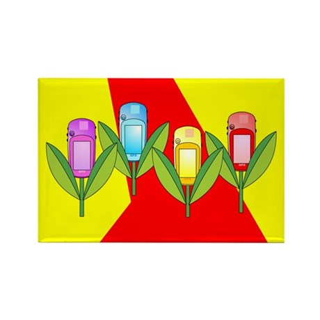GPS Flowers Rectangle Magnet