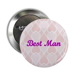 Best Man Pink Hearts Button