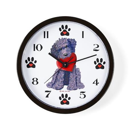 Black DOODLE LUV Dog Wall Clock