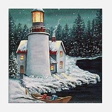 Christmas Lighthouse Tile Coaster