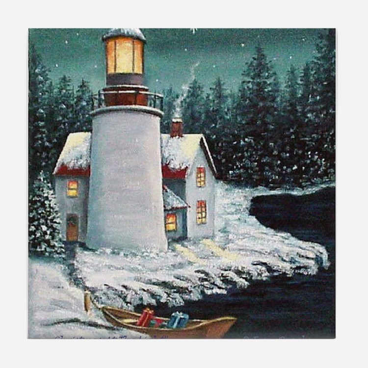 Christmas Lighthouse Tile Coaster