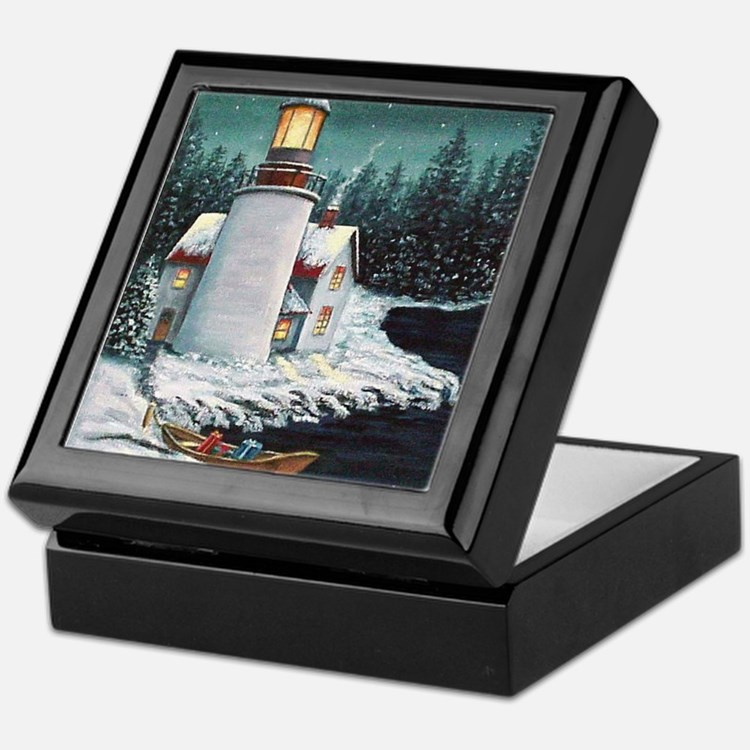 Christmas Lighthouse Keepsake Box
