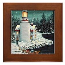 Christmas Lighthouse Framed Tile
