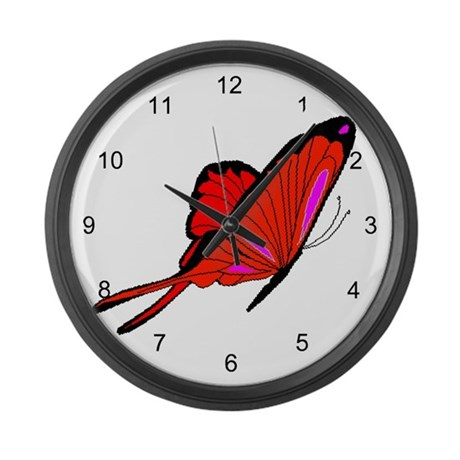 Red Flutters Large Wall Clock